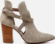 H Shoes By Hudson , Women's Jura Suede Studded Heeled Ankle Boots Taupe