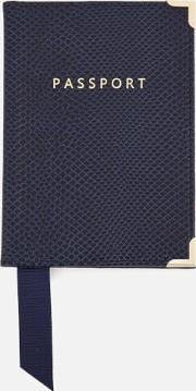 Aspinal Of London , Women's Passport Cover Midnight Blue