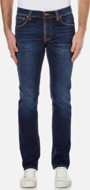 Nudie Jeans , Men's Grim Tim Slim Straight Jeans Used Big Twill