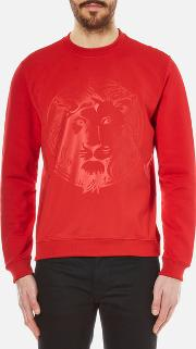 Versus Versace , Men's Embossed Lion Scuba Crew Neck Jumper Fire
