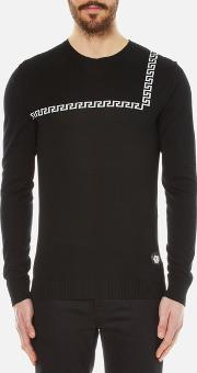 Versus Versace , Men's Crew Neck Jumper With Baroque Print Detail Black