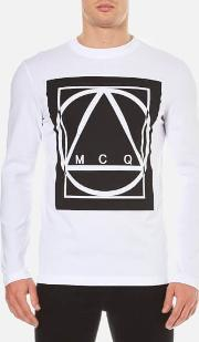 Mcq Alexander Mcqueen , Men's Large Logo Long Sleeve T Shirt Optic