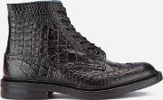 Trickers , Tricker's Men's Stow Croc Leather Lace Up Brogue Boots Black