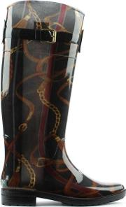 Lauren By Ralph Lauren , Rossalyn Ii Black All Over Patterned Rain Boot