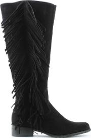 Via Uno , Black Fringe Knee Boot
