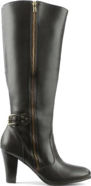 Via Uno , Brown Exterior Zip Wrapped Heel Knee Boot