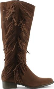 Via Uno , Brown Fringe Knee Boot