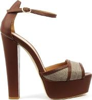 Angela , Angalondra Tan Leather Platform Sandal