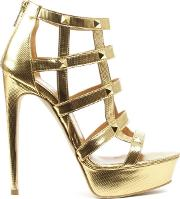 Angela , Doretea Gold Leather Studded Platform Sandal