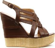 Angela , Oryx Tan Leather Criss Cross Raffia Wedge Sandal