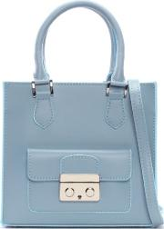 Daniel , Muddler Small Blue Leather Structured Tote Bag