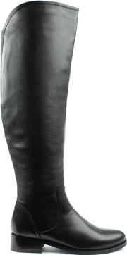 Df By Daniel , Langdale Black Leather Flat Over Knee Boot