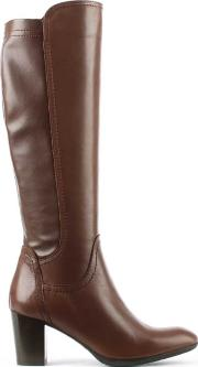 High , Tan Leather Knee  Boot