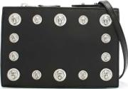 Versus Versace , Gian Black Leather Embellished Lion Head Cross Body Bag