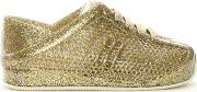 Melissa , Kid's Mini Gold Glitter Love System Lace Up Trainers