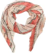 Armani Jeans , Striped Orange Logo Frayed Edge Scarf