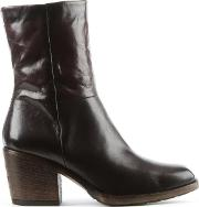 Mjus , Deliah Brown Leather Stacked Heel Ankle Boot