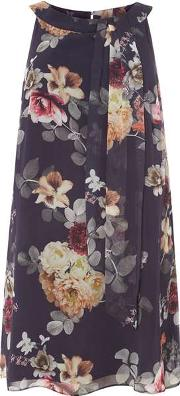 Dorothy Perkins , Womens Billie & Blossom Curve Navy Floral Print Trapeze Dress