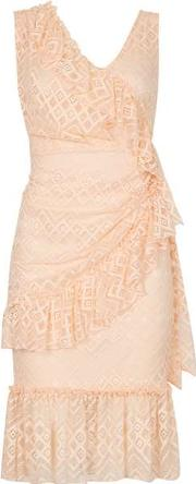 Dorothy Perkins , Womens Feverfish Peach Frill Lace Shift Dress
