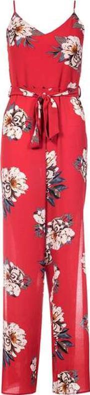 Dorothy Perkins , Womens Quiz Red Crepe Floral Jumpsuit