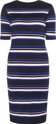 Dorothy Perkins , Womens Navy, Nude And Pink Stripe Midi Dress
