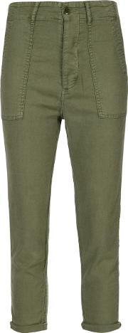 The Great , 'the Slouch Armies' Trousers Women Cottonlinenflaxpolyurethanetencel 24, Green