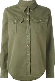 The Seafarer , Herringbone Military Shirt Women Cotton Xs, Green