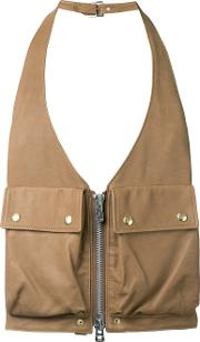 The Soloist , Utility Pocket Gilet Men Calf Leather One Size, Brown