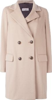 Alberto Biani , Double Breasted Coat Women Virgin Woolacetateviscose 42, Nudeneutrals