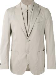 Corneliani , Layered Blazer Men Cottonspandexelastanecashmere 54, Nudeneutrals