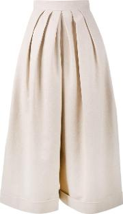 Delpozo , Cropped Pleated Trousers Women Cottonlinenflaxviscose 38, Nudeneutrals