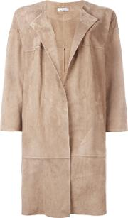 Desa Collection , Oversized Coat Women Cottonsuede 36, Nudeneutrals