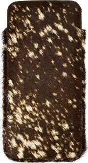 Isaac Reina , Dotted Fur Iphone 6 Case Unisex Calf Leather One Size, Brown