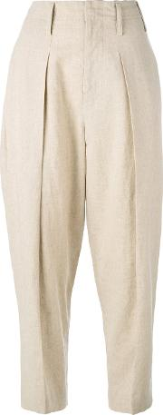 Ys , Y's Wide Leg Tapered Trousers Women Cottonlinenflaxcupro 3, Nudeneutrals