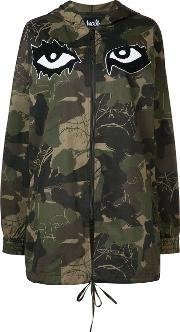 Haculla , Camouflage Printed Hooded Coat Women Cotton S, Green