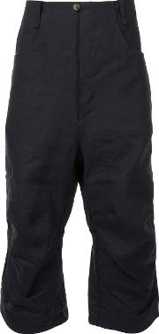 A Diciannoveventitre , Cropped Drop Crotch Trousers Men Paperramie 48, Black