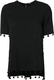 Adam Lippes , Fringed Detail T Shirt Women Polyesterviscose 0, Women's, Black