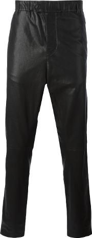 Ann Demeulemeester Grise , Leather Tapered Trousers Men Cottonleather S, Black