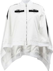 Anrealage , Embroidered Detail Cape Style Bomber Jacket Women Cottonpolyurethanecuprorayon 36, White