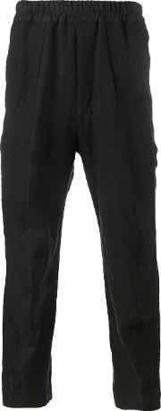 By Walid , Ess Embroidered Trousers Men Cottonlinenflax S, Black