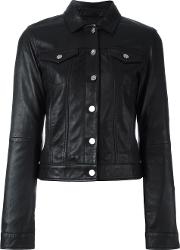 Calvin Klein Jeans , Buttoned Leather Jacket Women Leatherpolyester Xs, Women's, Black