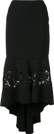 Christian Siriano , Fitted Lace Panel Skirt Women Polyesterpolyurethanesilk Crepe 8, Women's, Black