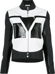 Courreges , Pinstripe Sleeve Biker Jacket Women Polyesterpolyurethane 40, White