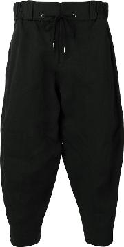 Devoa , Cropped Trousers Men Polyesterjapanese Paper 3, Black