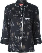 Frs For Restless Sleepers , F.r.s For Restless Sleepers Insects Print Three Quarters Shirt Women Silk M, Women's, Black