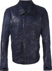 Isaac Sellam Experience , Casual Biker Jacket Men Lamb Skin Xl, Blue