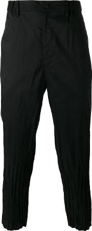 Issey Miyake Men , Creased Cuffs Loose Fit Trousers Men Linenflaxpolyester 5, Black