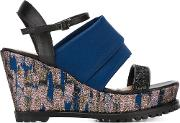 Markus Lupfer , Rubber Sole Wedge Sandals Women Leatherplasticsatin 36, Blue