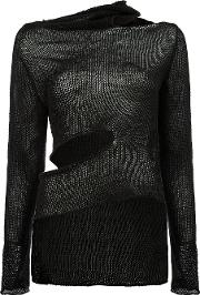 Masnada , Asymmetric Cut Out Detail Knitted Top Women Linenflax S