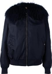 Mr & Mrs Italy , Fur Collar Bomber Jacket Women Polyamidepolyesterpolyurethaneracoon Fur S, Blue